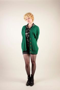 Great 80's Green Oversized Wool Cardigan By Evian LTD/Size Medium/Large/Unisex by VertigoChicago on Etsy