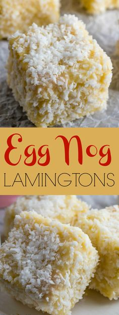 Egg Nog Lamingtons -Lamingtons are a traditional Australian pastry. Add some egg nog and they transform into a holiday treat that will get everyone talking. Christmas Main Dishes, Christmas Desserts, Christmas Treats, Holiday Treats, Holiday Recipes, Christmas Recipes, Christmas Cookies, Holiday Baking, Christmas Baking