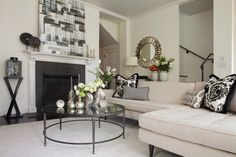 A White & Light San Francisco Victorian Living Room.  Like the art on mantle.  And, accessories on the mantle.