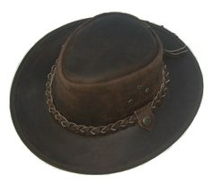 Leather cowboy western Aussie style Bush hat by Lesacollection Leather Hats, Braided Leather, Cowhide Leather, Smooth Leather, Real Leather, Brown Leather, Leather Working, Fine Sand, Western Cowboy