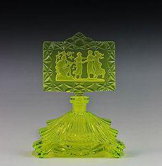 Bohemian Czech Art Deco Vaseline Glass  Perfume Bottle, Signed Pesnicak  c. 1930's   eBay