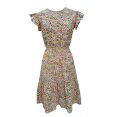 1970s citrus ditsy print vintage tea dress