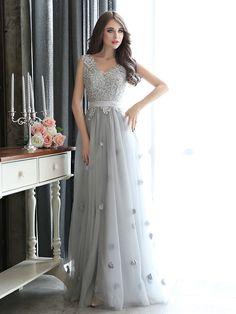 Formal Evening Dress - Silver Plus Sizes Sheath/Column V-neck Floor-length Tulle - GBP £ 62.99