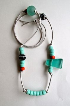 Asymmetrical beaded necklace with mint green by AnAstridEndeavor
