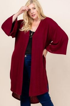 Made In U.S.A 1XL.2XL.3XL Plus Size Solid Hacci Brush Open Front Long Cardigan with Bell Sleeves 74% Rayon 22% Polyester 4% Spandex Burgundy EME Plus Size Solid Hacci Brush Open Front Long Cardigan With Bell Sleeves Plus Size Cardigans, Plus Size Tops, Open Front Cardigan, Long Cardigan, Cardigan Fashion, Spandex, American, Plus Size Fashion, Bell Sleeves