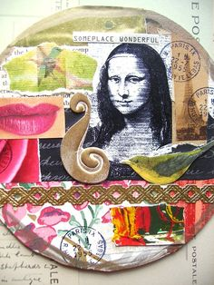 Mona Lisa Round Large Art Collage TagThe Mona by lynnetteaprilarts