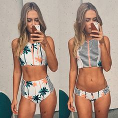 2015 New Arrival Print Palm Tree Women Bikini,High Neck Tank Zipper Design Top Striped Swimsuit Bra Padded High Waist Swimwear