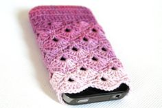 iPhone 5 / 4 / 4S / Case . Pink Colorful / Handmade crochet. $15.00, via Etsy.