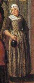 """Detail from """"Concert in an Interior"""" by Jan Jozef Horemans II (1764). This serving woman wears what is probably a block-printed cotton apron in a dark """"sprig"""" design on a light background."""