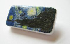 Items similar to Starry Night - Van Gogh Artwork Pin, Upcycled Domino on Etsy Domino Jewelry, Domino Art, Handcrafted Jewelry, Unique Jewelry, Van Gogh, Jewelry Crafts, Upcycle, Jewelry Making, Miniatures
