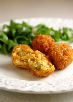Fried pumpkin and goat cheese risotto balls.