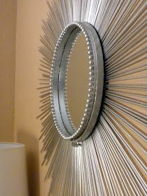 Sunburst mirror using skewers & embroidery loom: diy