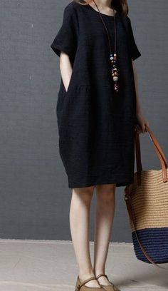 Women loose plus size maternity cotton linen dress pocket black short sleeve #Unbranded #dress #Casual