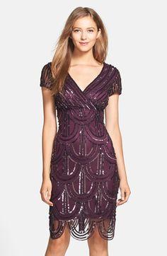 Womens Marina Sequin Surplice Sheath Dress Size 10 - Purple $179.00 AT vintagedancer.com