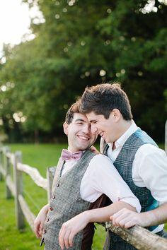 Photo from lovemydress.net #Matching #Wedding #SameSexWedding #Love #Bowtie #Rustic #Farm #Sweet #Vintage #GayWedding #LesbianWedding #Couple #BlissMauiWed