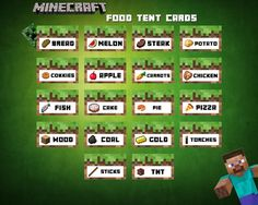 Minecraft Food Tent Cards Labels Printable by wazzupershop on Etsy