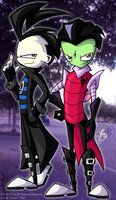 Zim and Dib in High Skool by NeroStreet
