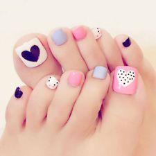 Heart Artificial Fake Toe Nails False Nail Tips For Summer Holiday Beach Pretty Toe Nails, Cute Toe Nails, Toe Nail Art, My Nails, Jamberry Nails, Fingernail Designs, Toe Nail Designs, Gel Zehen, Fake Nails With Glue