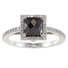Victoria Kay 14k Gold 1 1/4ct TDW Princess Cut Black and White Diamond Ring