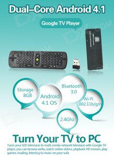 Android 4.1 Dual Core Google TV Player w / Wi-Fi / Bluetooth / 1GB RAM / 8GB ROM – Black | The Knick Knack Shop. Google Tv, The Knick, Gadget Shop, Knick Knack, Gadgets And Gizmos, Android 4, Wi Fi, Bluetooth, Core