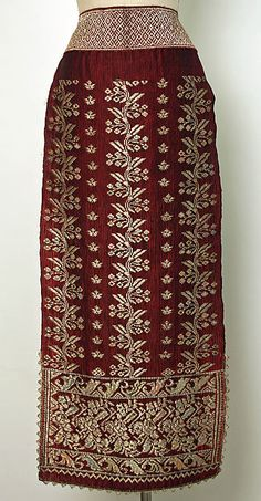 Popular Folk Embroidery Ensemble Date: century Culture: Romanian Medium: cotton, silk - Traditional Fashion, Traditional Dresses, Folk Embroidery, Embroidery Stitches, Embroidery Patterns, Crochet Hook Set, 1800s Fashion, Historical Clothing, Historical Dress
