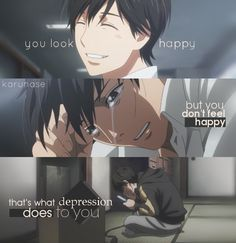 """You look happy but you don't feel happy, that's what depression does to you.."" - #Anime #Manga : Orange (by Takano Ichigo -Edited by Karunase -Tumblr: karunase.tumblr.com"