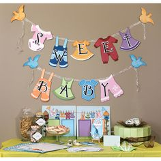 Baby Shower party set. Cut files and instructions for these baby shower ideas can be found on the Pazzles Party CD. Includes baby shower games and recipes too in addition to all of the baby shower decor cut files.
