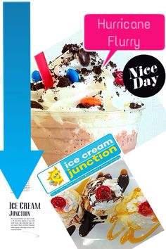 Ice Cream creations from Ice Cream Junction in Cocoa Beach, FL - Hurricane Flurry and Sundaes