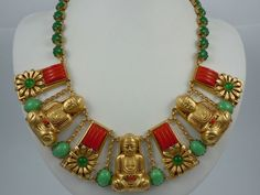 Askew London Buddha and Vintage Glass Collar Necklace