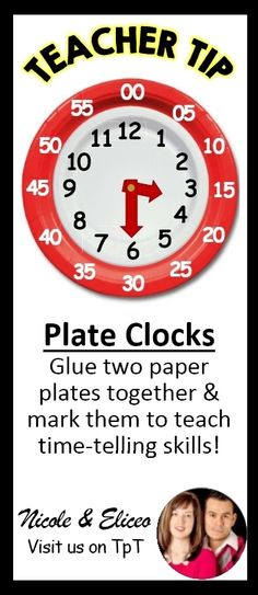TEACHER TIP: Stacked paper plates make great manipulative clocks for teaching time-telling skills. *Could write the numbers on one plate as well Primary Teaching, Teaching Time, Student Teaching, Teaching Ideas, 1st Grade Math, Kindergarten Math, Math Class, Preschool, Childhood Education