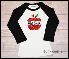 Personalized GLITTER Chevron Apple Teacher Shirt, ADULT Raglan Shirt, Personalized Shirt, Teacher Gift, Perfect for All School Activities by BabySmilesBoutique on Etsy https://www.etsy.com/listing/247861481/personalized-glitter-chevron-apple