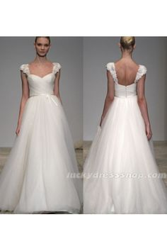 White A-Line/Princess Off The Shoulder Long/Floor-length Tulle Wedding Dress With Short Sleeve (MW4G07)-LuckyDressShop.com