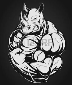Vector illustration of a strong rhino with big biceps photo
