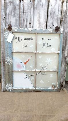 pane ideas without glass Custom Window Treatments, Blinds, Shades Noel Christmas, Christmas Signs, Rustic Christmas, Winter Christmas, Christmas Ornaments, Snowman Crafts, Christmas Projects, Holiday Crafts, Christmas Ideas