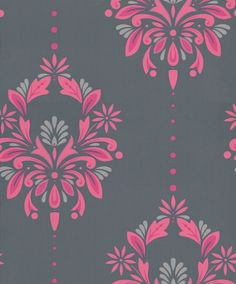 Antoinette (30-738) - Dulux Wallpapers - A smart stylized damask design with metallic highlights and a fine pin stripe background. Showing in pink and silver on black - other colour ways available. Please request a sample for true colour match. Paste-the-wall product.
