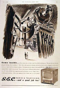 Vintage advertisement for G.E. Television. Futuristic.
