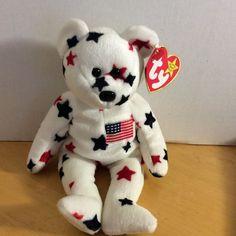 Ty Beanie Baby Plush GLORY THE BEAR US Flag & Blue/White Stars Tag Errors Retire #Ty
