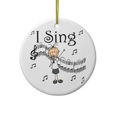 Stick Figure Girl I Sing T-shirts and Gifts Christmas Tree Ornament by… Baby First Christmas Ornament, Christmas Balls, Christmas Tree Ornaments, Grandma Crafts, Doodle People, Stick Figure Drawing, Penguin Ornaments, Mermaid Crafts, Stick Figures
