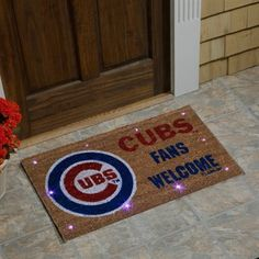 Chicago Cubs Lighted Coir Mat - Brown