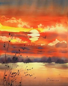 100 easy watercolor painting ideas for beginners - artofit Watercolor Art Diy, Watercolor Sunset, Watercolor Art Paintings, Watercolor Landscape Paintings, Watercolor Illustration, Landscape Art, Painting Illustrations, Artist Painting, Watercolors