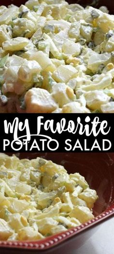 My favorite potato salad filled with eggs, sweet pickles, and slaw dressing that gives it a unique twist. I've been making it for years & it's always a hit!   www.persnicketyplates.com #potatosalad #sidedish #vegetarian #bbq #easyrecipe