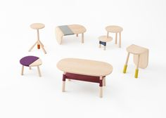 Nendo bases tables for Walt Disney Japan on Winnie-the-Pooh characters
