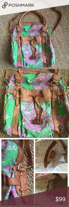 """🍂Anthropology Lucky Penny Crossbody Handbag. Super Cute Anthropology Lucky Penny leather and canvas cross-body bag. Features floral printed canvas with leather trimmings. 2 handles and detachable Cross-body strap. Can fit small laptop and books. In brand new condition. Used about 2 times. Length: 16"""" width: 16"""" depth: 7.5"""" Anthropologie Bags"""