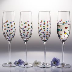 A personal favourite from my Etsy shop https://www.etsy.com/uk/listing/288198309/set-of-4-hand-painted-champagne-flutes