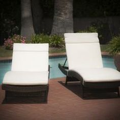 @Overstock - Add some stylish comfort to your patio decor with these wicker lounges. They are weather resistant and with an adjustable back and folding legs for easy stacking.http://www.overstock.com/Home-Garden/Outdoor-Brown-Wicker-Adjustable-Chaise-Lounge-with-Cushions-Set-of-2/6739674/product.html?CID=214117 $589.99