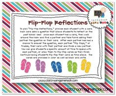 """""""Flip-Flop Reflections!"""" - A game to have students reflect on the past school year - FREE!"""