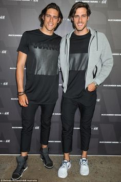 Matching smiles: Australian twins Zac and Jordan Stenmark lend their model good looks  to the party