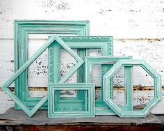Five Random Frames - SET OF 5 Mixed Picture Frames  - You Pick The Color  - Aqua Mint Pink Coral Salmon White Grey - Rustic Empty Collection