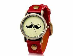 New Fashionable Women's Beard Pattern Round Dial Analog Watch Faux Leather Red
