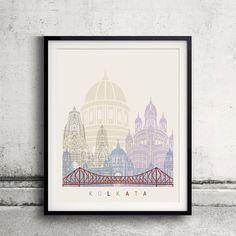 Kolkata skyline poster Fine Art Print Glicee Poster Decor